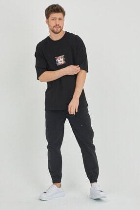 XHAN Siyah Önür & Arkası Baskılı Oversize T-shirt 1kxe1-44629-02 4