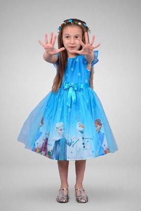 Mnk Kız Çocuk Mavi Karlar Ülkesi Elbisesi 1