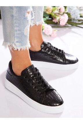 ayakkabıhavuzu Kadın Siyah Kroko Spor Ayakkabı 0