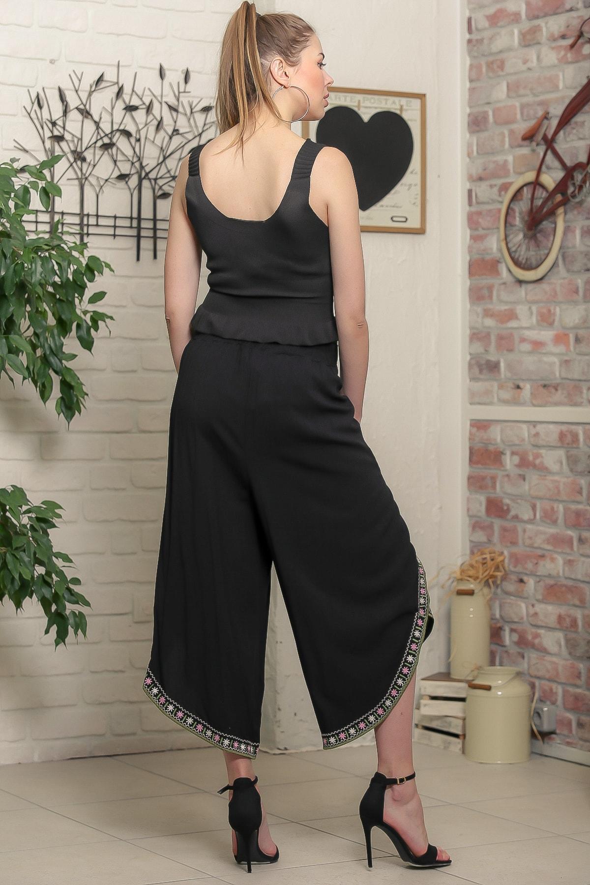 Chiccy Kadın Siyah Çiçek Nakışlı Bağlama İp Detaylı Zarf Pantolon M10060000PN98939 4