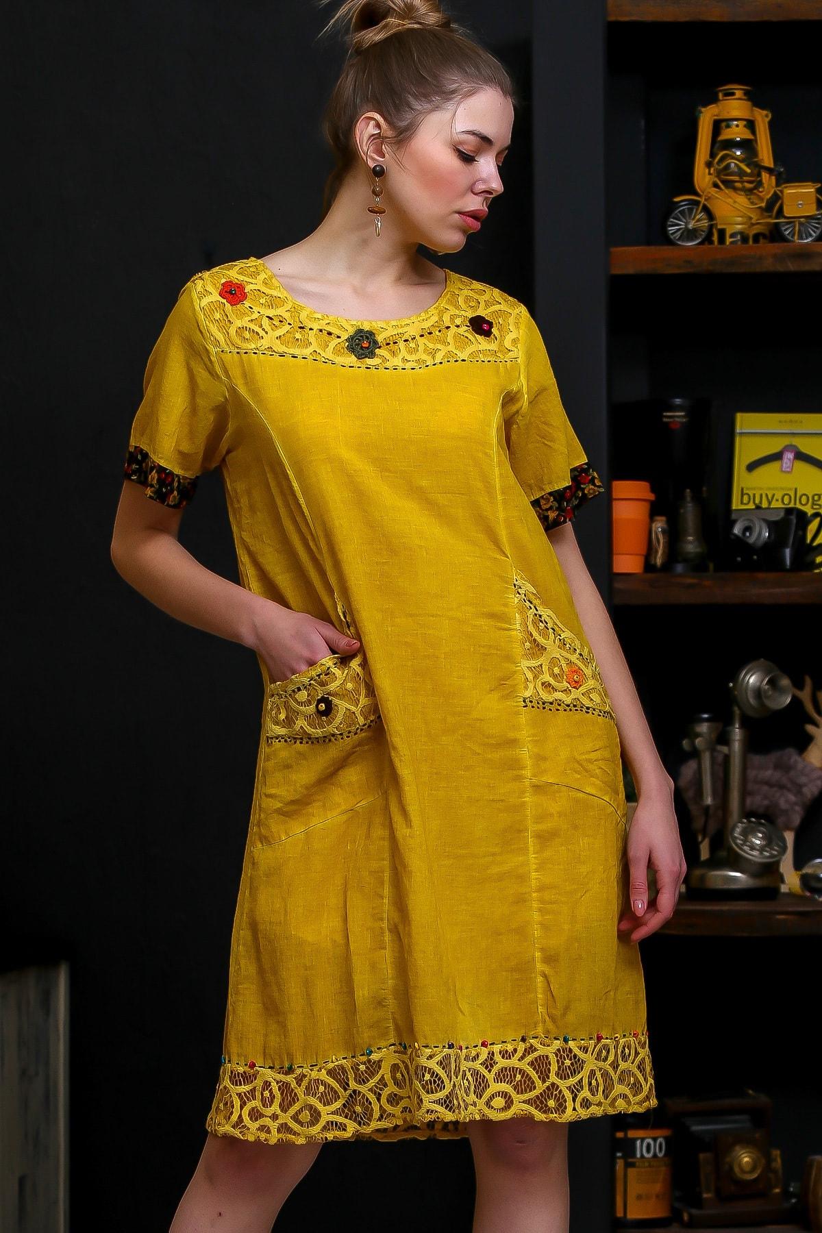 Chiccy Kadın Hardal Robası Dantel El İşi Çiçek Detay Cepli Astarlı Yıkamalı Dokuma Elbise M10160000EL95870 0