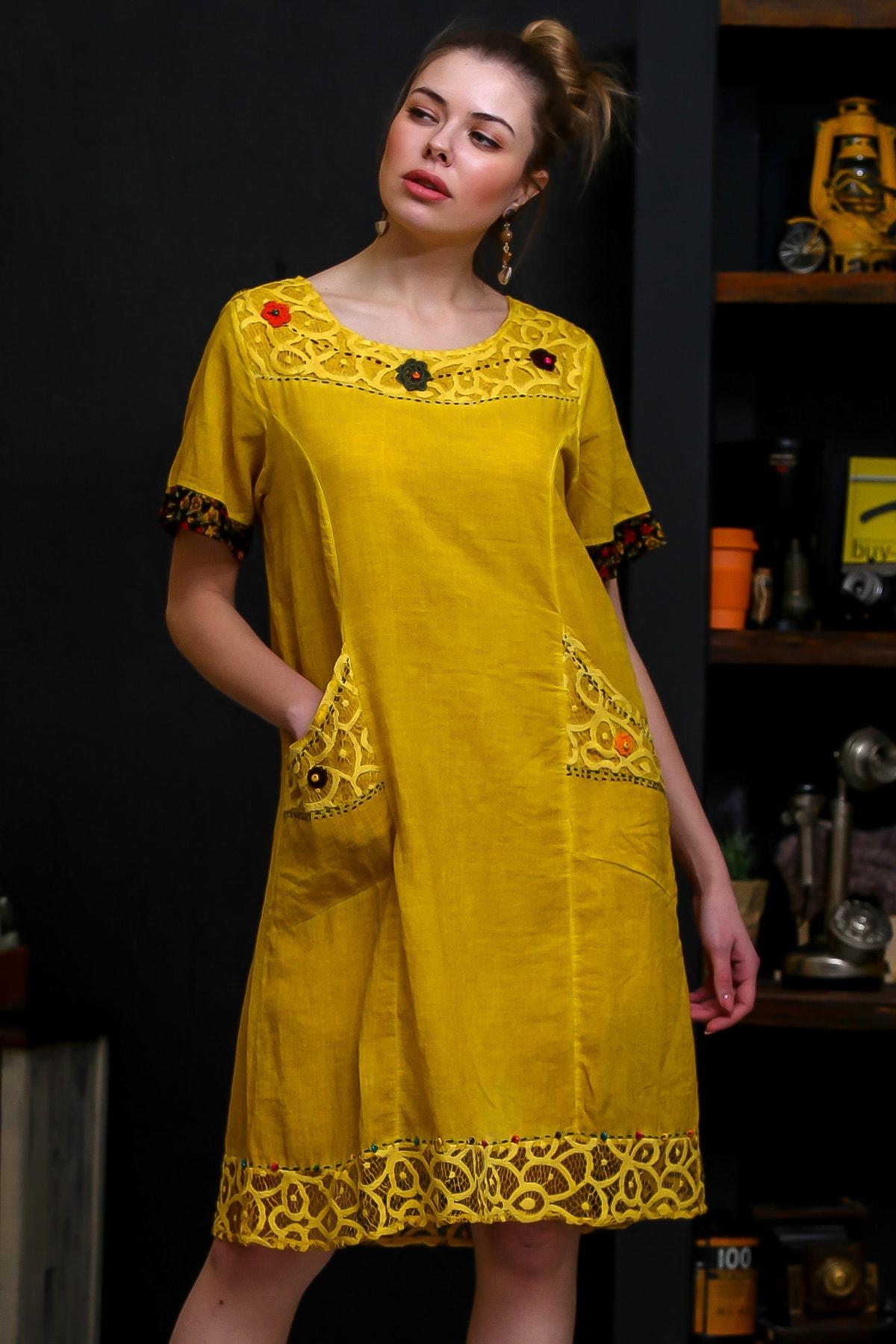 Chiccy Kadın Hardal Robası Dantel El İşi Çiçek Detay Cepli Astarlı Yıkamalı Dokuma Elbise M10160000EL95870 1