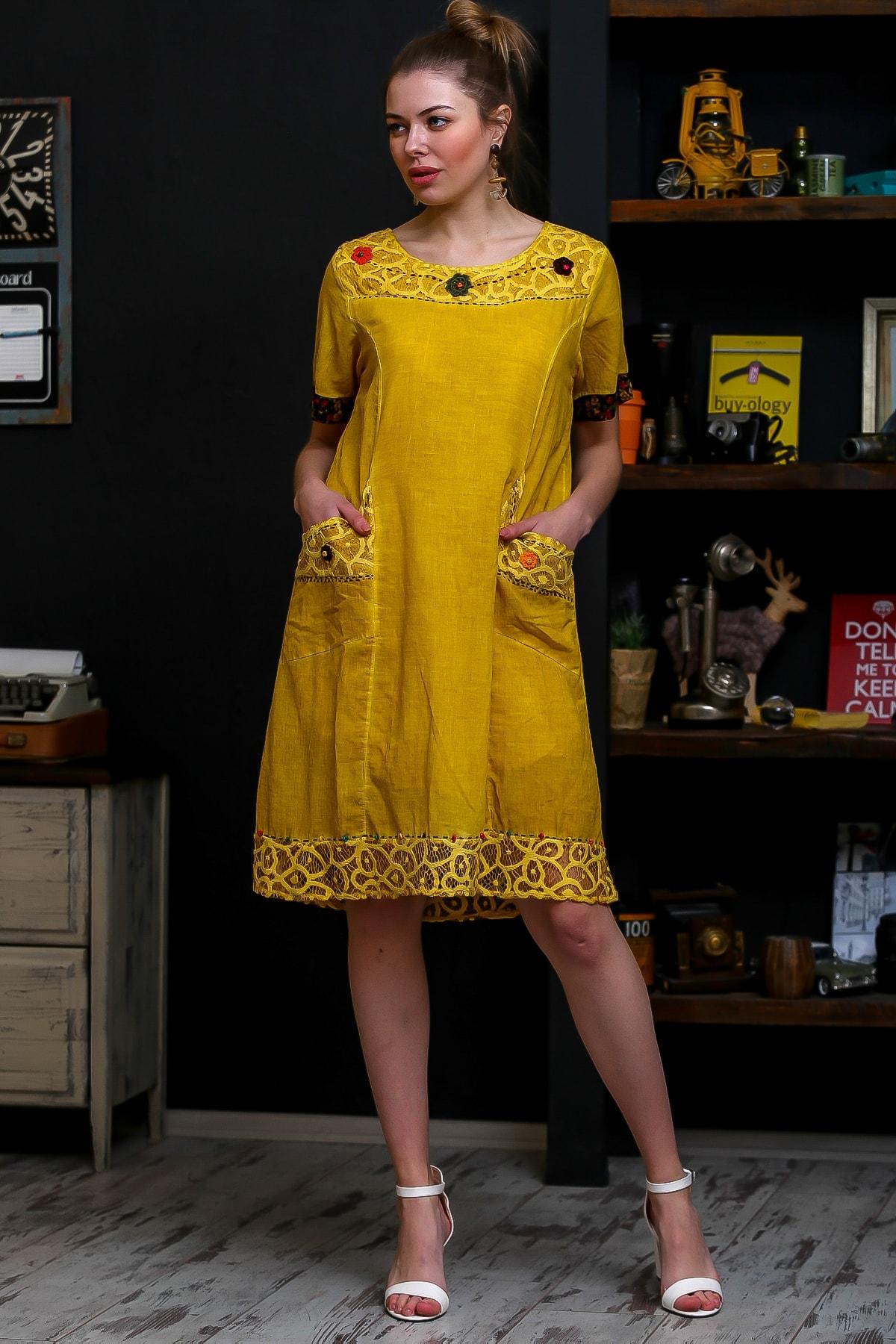 Chiccy Kadın Hardal Robası Dantel El İşi Çiçek Detay Cepli Astarlı Yıkamalı Dokuma Elbise M10160000EL95870 2