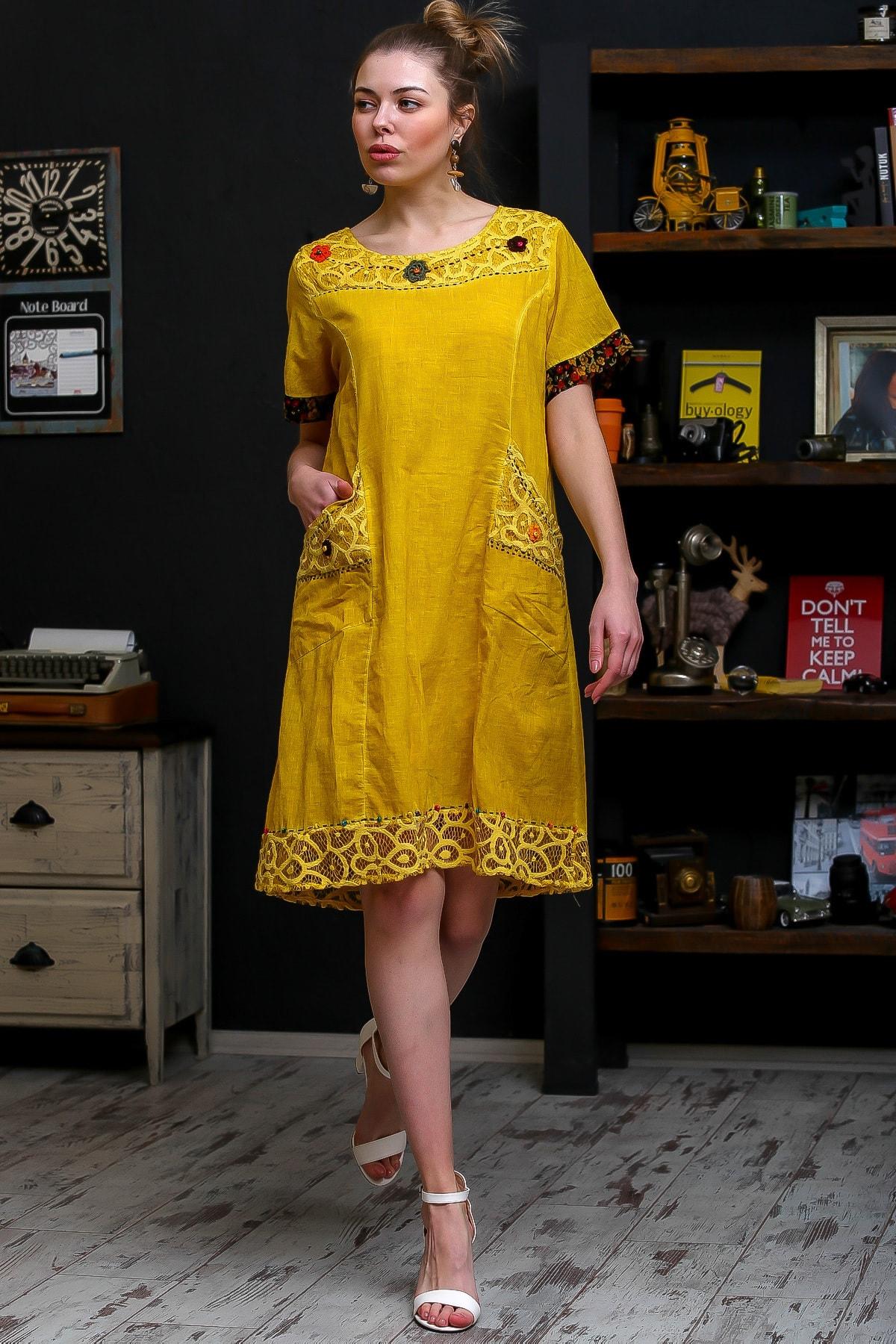 Chiccy Kadın Hardal Robası Dantel El İşi Çiçek Detay Cepli Astarlı Yıkamalı Dokuma Elbise M10160000EL95870 3
