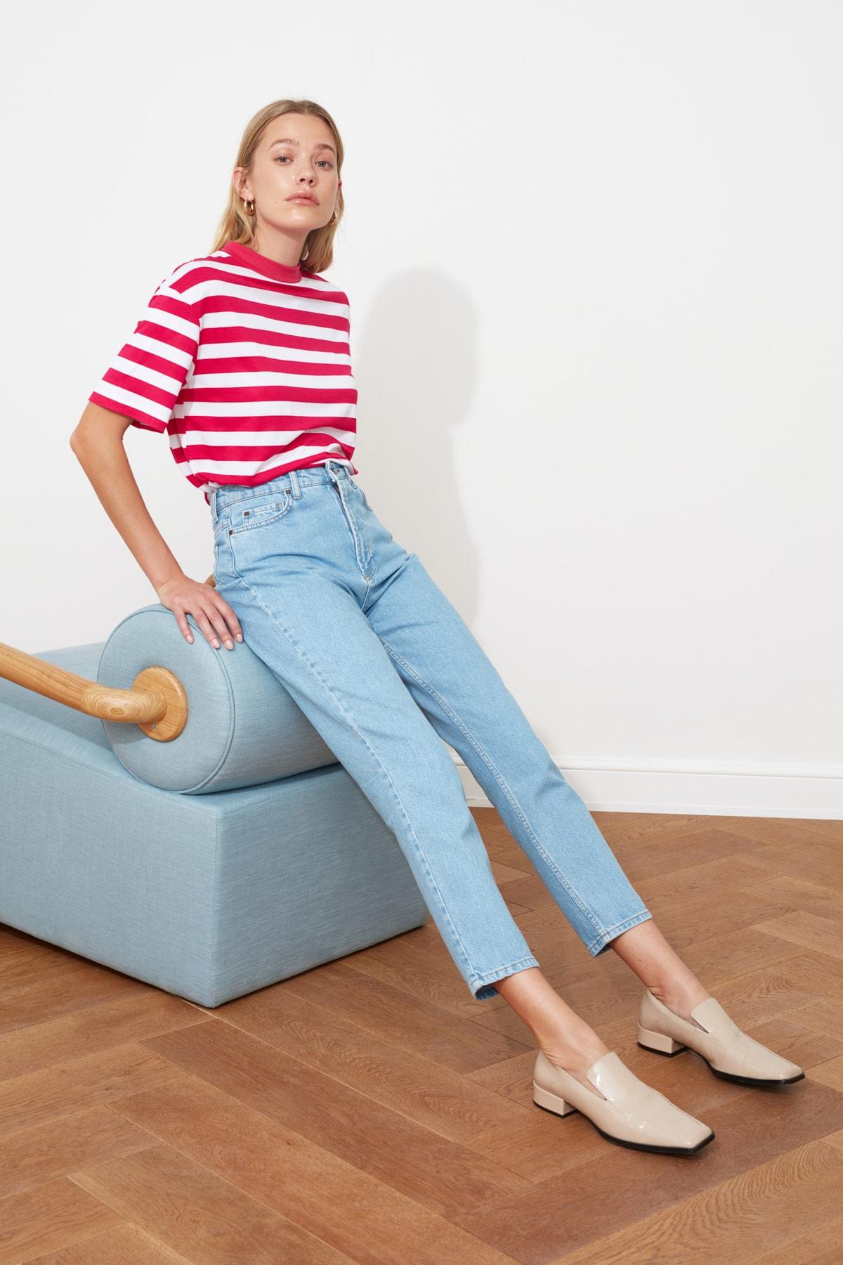 1 org zoom Mavi Yüksek Bel Mom Jeans TWOAW20JE0129