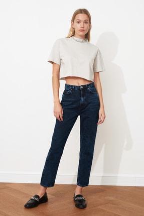 TRENDYOLMİLLA Gece Mavisi Yıkamalı Yüksek Bel Mom Jeans TWOSS20JE0099 0