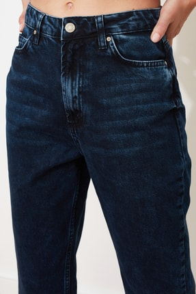 TRENDYOLMİLLA Gece Mavisi Yıkamalı Yüksek Bel Mom Jeans TWOSS20JE0099 2