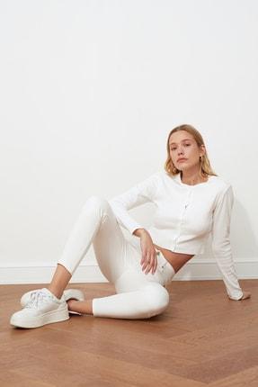 TRENDYOLMİLLA Beyaz Önden Düğmeli Yüksek Bel Skinny Jeans TWOSS20JE0443 0