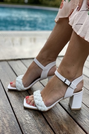İnan Ayakkabı Küt Burun Örgü Tek Bant Topuklu Ayakkabı 4