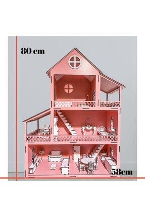 Özçıpa Hediye Pembe Ahşap Barbie Evi 80 cm Eşyalı 3