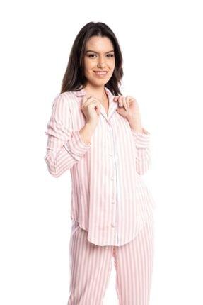 Qu Style Kumas Pembe Çizgili Gömlek Pijama 0