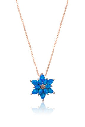 Papatya Silver 925 Ayar Mavi Opal Taşlı Gümüş Lotus Kolye 0