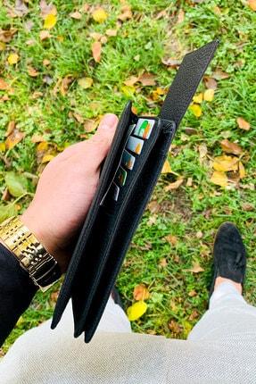 QAMER Unisex Siyah Telefon Bölmeli Deri El Cüzdanı Portföy 3