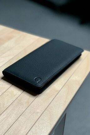 QAMER Unisex Siyah Telefon Bölmeli Deri El Cüzdanı Portföy 4