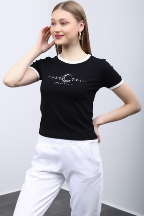 Kadın Siyah Baskılı Crop T-shirt bskltshrt