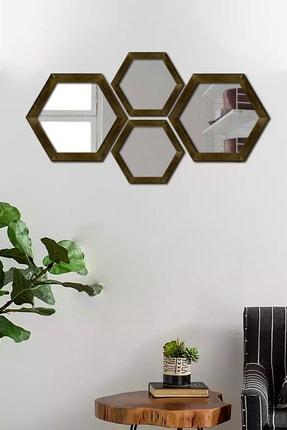 Dekolia Dekoratif Duvar Aynası 4'lü Altıgen Doğal Ahşap Ceviz 0