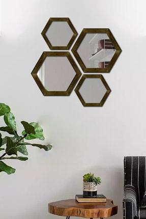 Dekolia Dekoratif Duvar Aynası 4'lü Altıgen Doğal Ahşap Ceviz 1