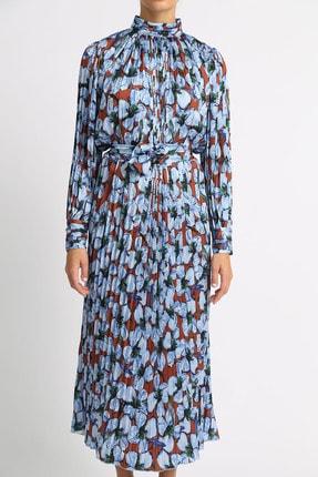 Esra İnceefe Kadın Piliseli Uzun Kollu Dik Yakalı Kuşaklı Uzun Çiçekli Elbise 1