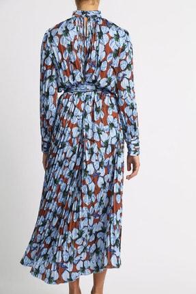 Esra İnceefe Kadın Piliseli Uzun Kollu Dik Yakalı Kuşaklı Uzun Çiçekli Elbise 3