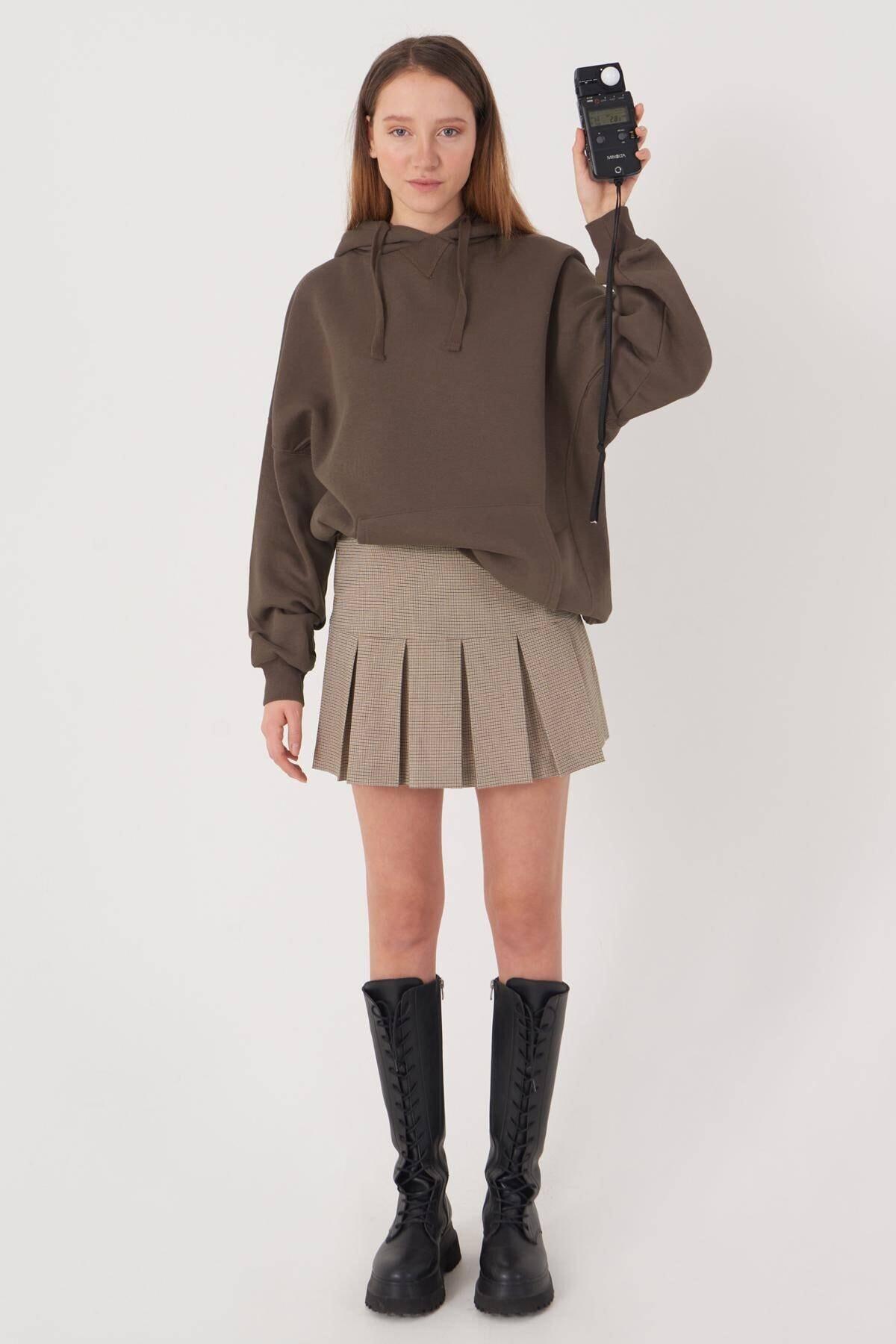 Addax Kadın Vizon Kapüşonlu Sweatshirt S0519 - P10V1 Adx-0000014040 4