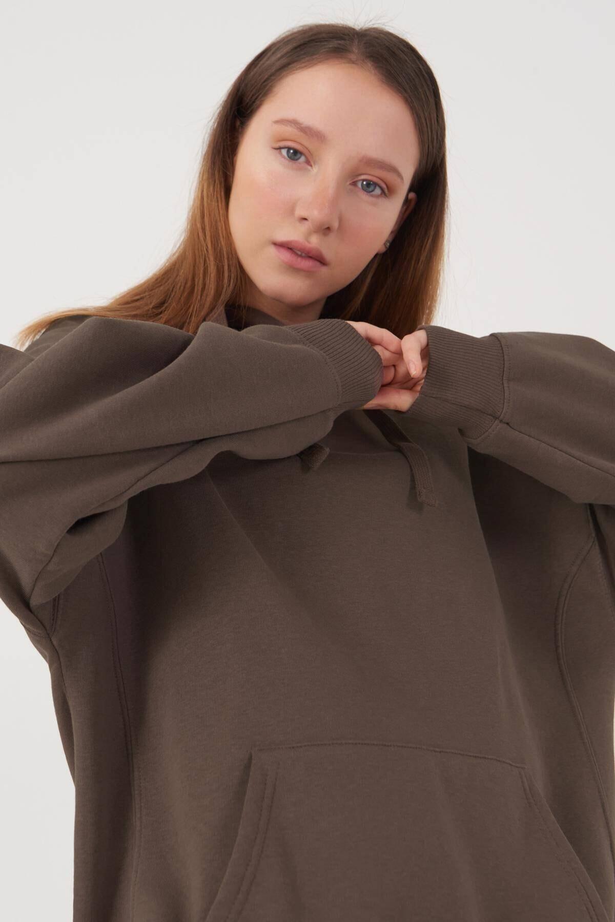 Addax Kadın Vizon Kapüşonlu Sweatshirt S0519 - P10V1 Adx-0000014040 3