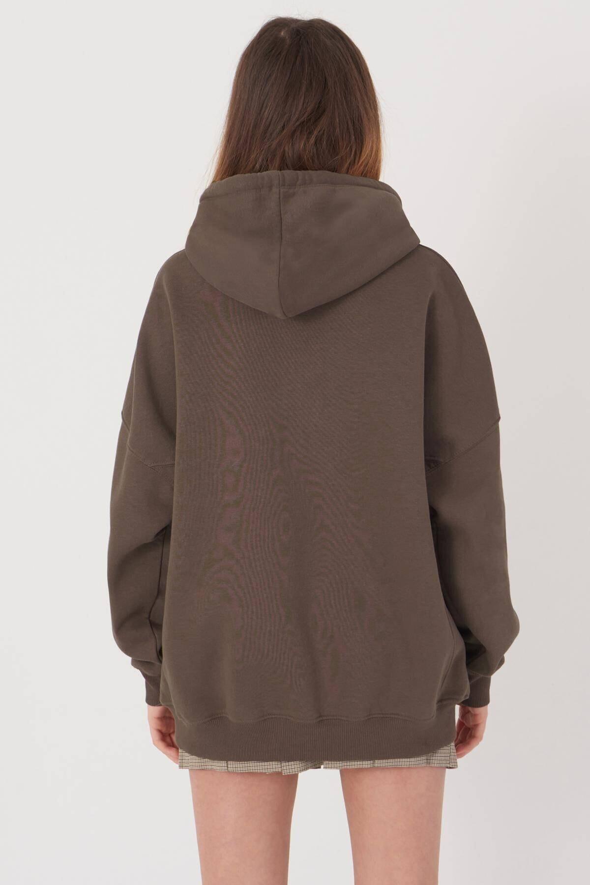 Addax Kadın Vizon Kapüşonlu Sweatshirt S0519 - P10V1 Adx-0000014040 1