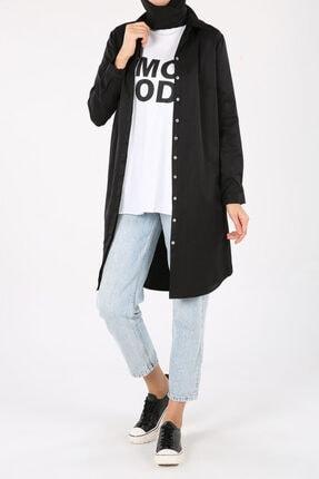ALLDAY Siyah Gizli Patlı Gömlek Tunik 4