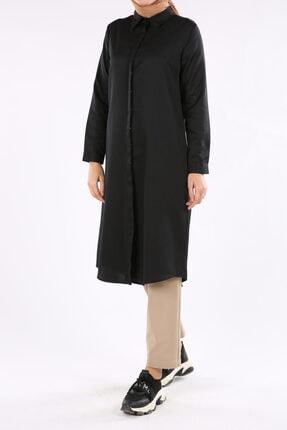 ALLDAY Kadın Siyah Gizli Patlı Uzun Tunik 1