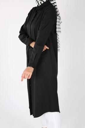 ALLDAY Siyah Gizli Patlı Gömlek Tunik 2