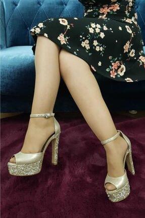 TREND Kadın Topuklu Ayakkabı Taşlı Altın Ox26 2