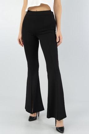 bayansepeti Kadın Siyah Esnek Kumaş Yırtmaç Paça Detaylı İspanyol Paça Pantolon 1