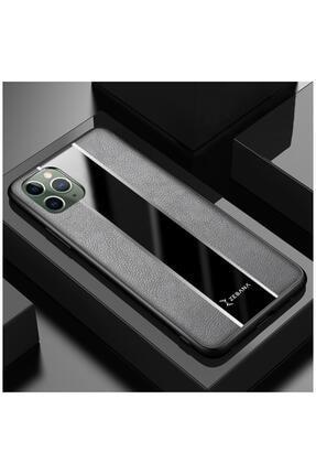 Dara Aksesuar Iphone 11 Pro Max Uyumlu Gri Deri Telefon Kılıfı 0