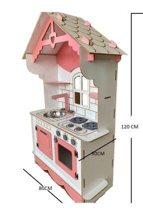 BKM MOBİLYA Dekoratif Doğal Ahşap Eğitici Kız Çocuk Mutfak Seti Pembe 1
