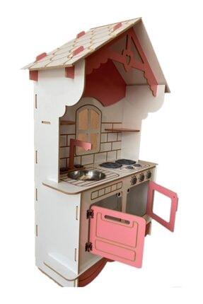 BKM MOBİLYA Dekoratif Doğal Ahşap Eğitici Kız Çocuk Mutfak Seti Pembe 2