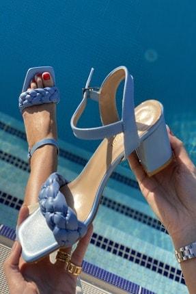 İnan Ayakkabı Kadın  Mavi Küt Burun Örgü Tek Bant Topuklu Ayakkabı 1