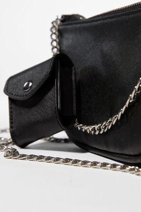 Bershka Kadın Siyah Kılıf Detaylı Zincirli Askılı Mini Çanta 3