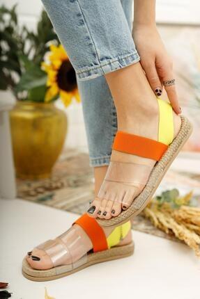 Muggo Kadın Turuncu Şeritli Sandalet 1