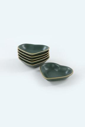 Keramika Mat Yeşil Altın Fileli Kalp Çerezlik / Sosluk 14 Cm 6 Adet 1