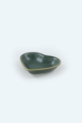 Keramika Mat Yeşil Altın Fileli Kalp Çerezlik / Sosluk 14 Cm 6 Adet 2