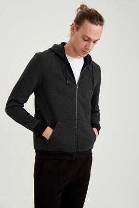 Defacto Erkek Siyah Slim Fit Kapüşonlu Fermuarlı Sweatshirt 2