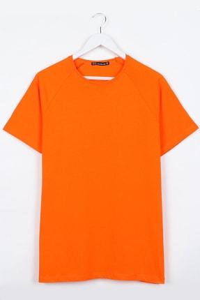 Sekizbiraltı Turuncu Reglan Kol Basic Unisex Tshirt 0