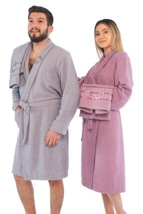 Zeynep Tekstil Arya 4 Parça Nakışlı %100 Pamuklu Bornoz Seti Bornoz Takımı 0