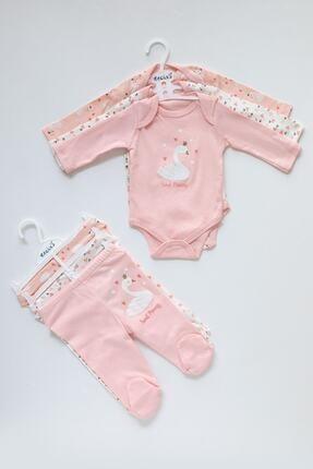 Necix's Kız Bebek Pembe Kuğu Desenli 3 Takım 6 Parça Çıtçıtlı Takım 1