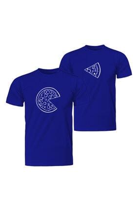 Sevgili Çift Kombinleri Pizza Slice 2 Ürün Mavi Tişört ST153SCK1189