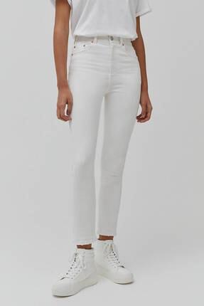 Pull & Bear Kadın Beyaz Süper Yüksek Bel Slim Fit Mom Jeans 1