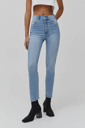 Pull & Bear Kadın Süper Yüksek Bel Slim Fit Mom Jean 1