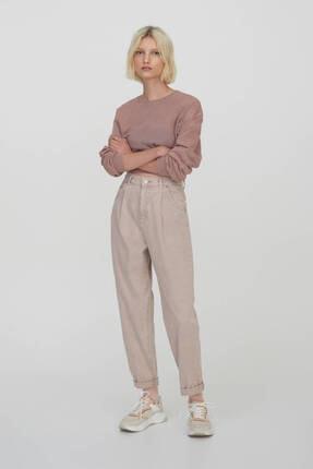 Pull & Bear Kadın Pudra Slim Fit Slouchy Pantolon 0