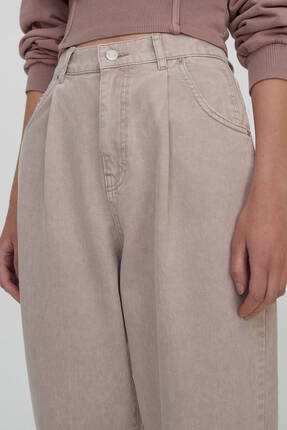 Pull & Bear Kadın Pudra Slim Fit Slouchy Pantolon 4