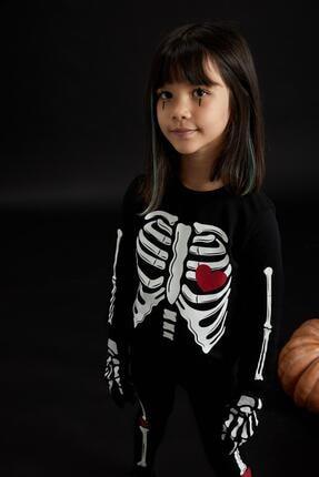 Defacto Kız Çocuk Iskelet Baskılı Sweatshirt Ve Tayt Takım 1