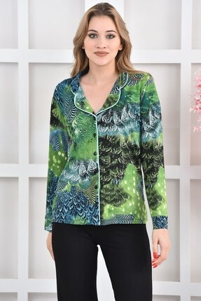 OENDO Yeşil Siyah Baskılı Viskon Örme Pijama Takımı Nd-2005 1